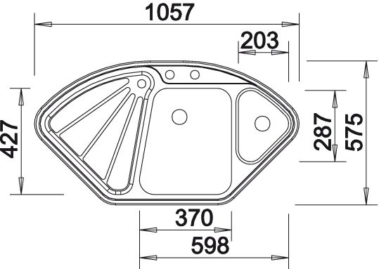 Evier d 39 angle inox 1 bac avec gouttoirsous plan ou a encastrer blanco blancodelta blancodelta - Evier d angle inox ...