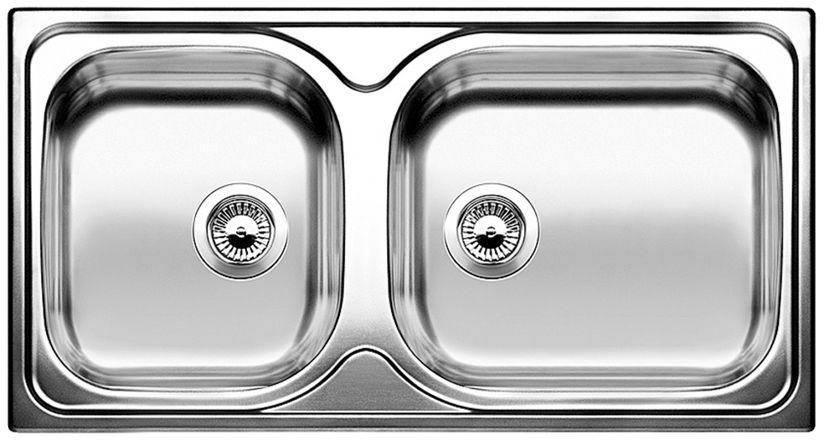 Evier Grande Cuve Inox 2 Bacs A Encastrer Blanco Blancotipo
