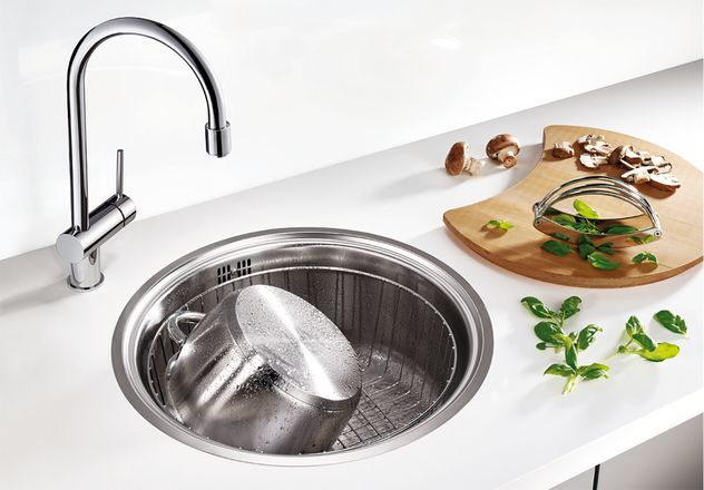 Eviers rond ovale les viers inox aux formes arrondis for Evier inox rond