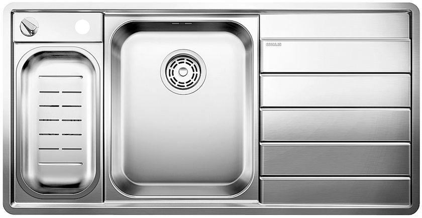 evier 1 bac avec gouttoir semi affleurant vidage automatique blanco blancoaxis ii 6 s if - Evier 1 Bac 1 2