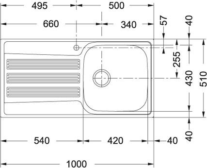 evier grande cuve inox 1 bac r versible avec gouttoir a encastrer franke galileo gox611 100. Black Bedroom Furniture Sets. Home Design Ideas