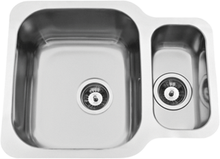 Evier inox 1 5 bac sous plan rodi cuve individuelle duo for Evier encastrable inox 1 bac