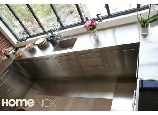 Cuisine inox sur mesure vier mobilier table cr dence - Revetement mural cuisine inox ...